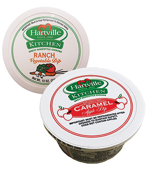 Two containers of Hartville Kitchen dips