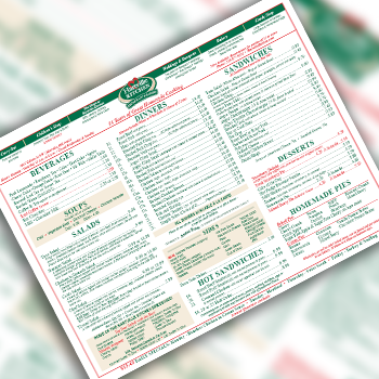 A printable Hartville Kitchen dinner menu