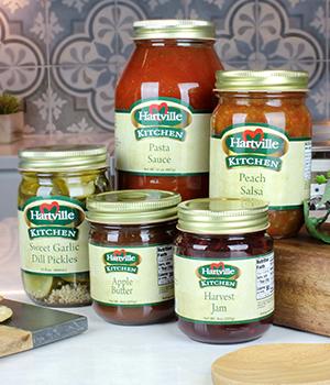 five different jars of Hartville Kitchen specialty foods