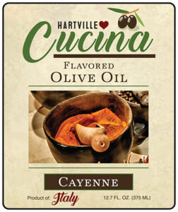 Hartville Cucina Cayenne Flavor Infused Olive Oil label
