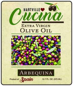 Hartville Cucina Arbequina Extra Virgin Olive Oil label