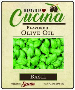 Hartville Cucina Basil Flavor Infused Olive Oil label
