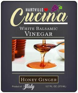 Hartville Cucina Honey Ginger White Balsamic Vinegar label