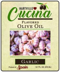Hartville Cucina Garlic Flavor Infused Olive Oil label