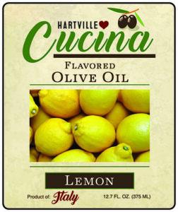 Hartville Cucina Lemon Flavor Infused Olive Oil label
