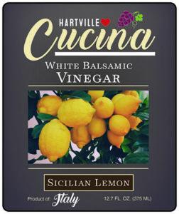 Hartville Cucina Sicilian Lemon White Balsamic Vinegar label