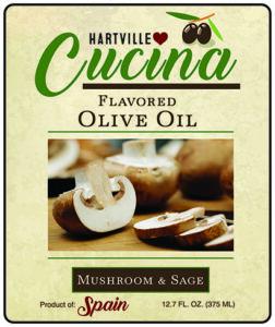 Hartville Cucina Mushroom & Sage Flavor Infused Olive Oil label
