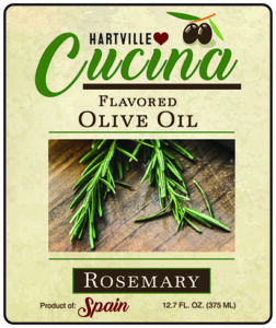 Hartville Cucina Rosemary Flavor Infused Olive Oil label