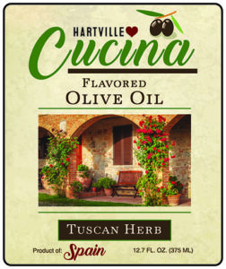 Hartville Cucina Tuscan Herb Flavor Infused Olive Oil label