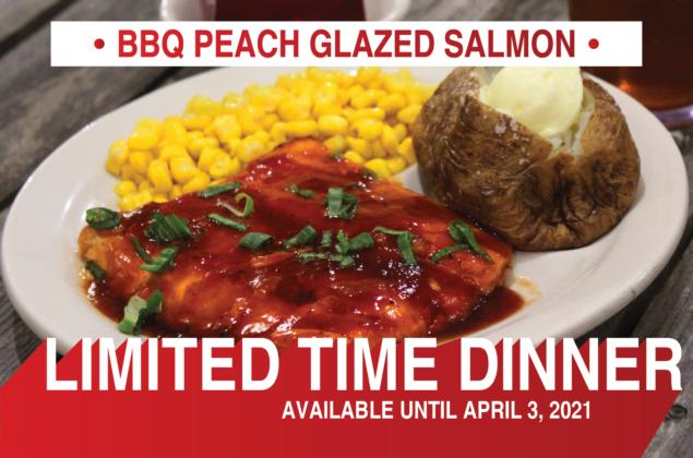 Limited Time Dinner: BBQ Peach Glazed Salmon