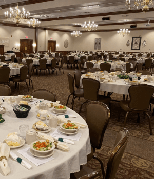 Nicely set tables in the banquet room at Hartville kitchen