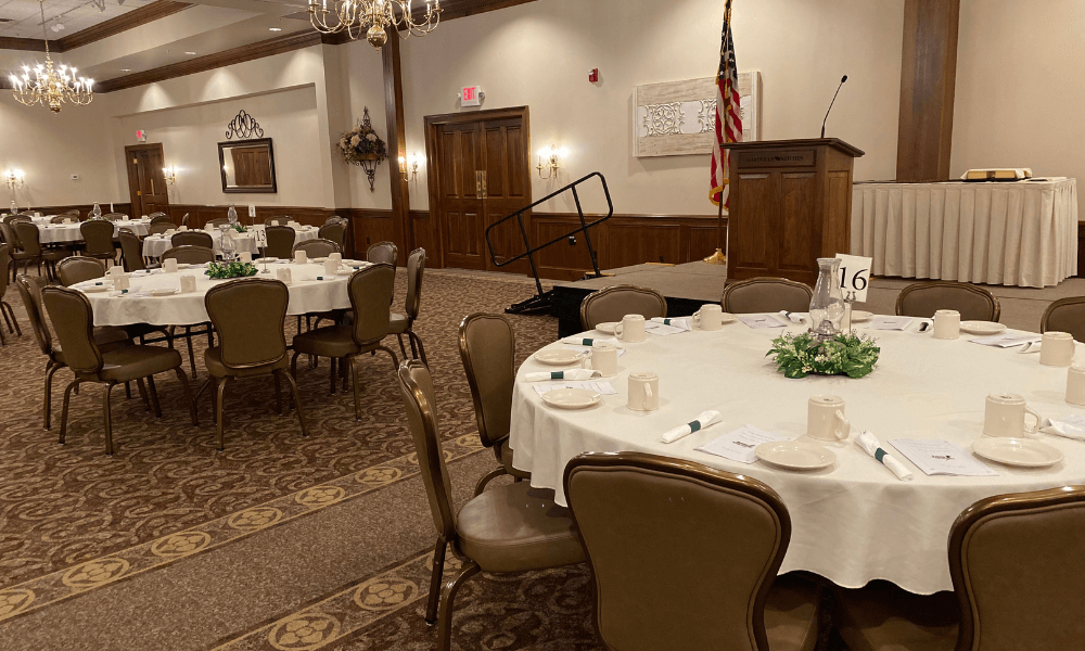 Hartville Kitchen conference center stage and microphone set up