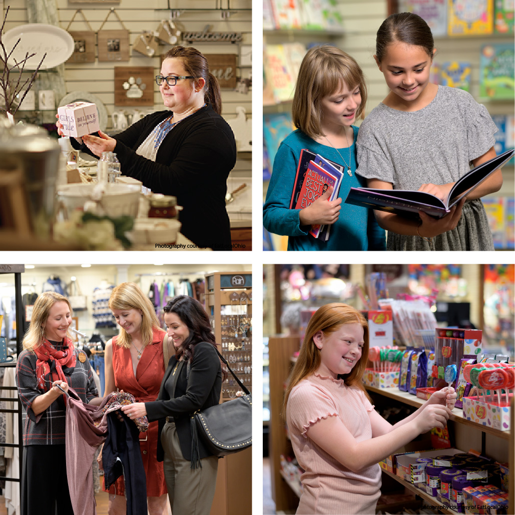 A four panel image showing different people shopping in different sections at The Shops at Hartville Kitchen in each panel